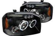 Spec-D® 2LHP-FRO01JM-TM - Black Halo Projector Headlights with LEDs