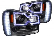 Spec-D® - Black Projector Headlights with LEDs, Halo Rim