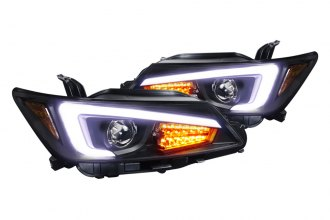 Spec-D® - Black Projector Headlights with LED Light Bar