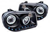 Spec-D® - Black Dual CCFL Halo Projector Headlights with R8 LED Style