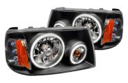 Spec-D® - Black Dual CCFL Halo Headlights with LEDs
