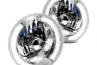 "Spec-D® - 7"" Round Chrome Euro Headlights with LEDs"