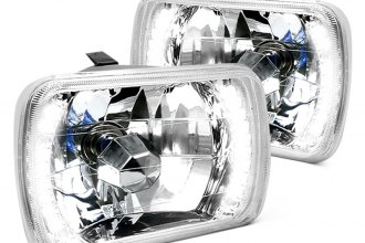 "Spec-D® - 7x6"" Rectangular Chrome Euro Headlights with LEDs"