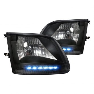 Spec-D® - Black Euro Headlights with LED Driving Lights