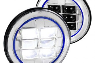 "Spec-D® - 7"" Round Chrome Projector LED Headlight with Blue Rim Strip"
