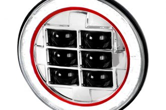 "Spec-D® - 7"" Round Chrome Halo Projector LED Headlight with Red Rim Strip"