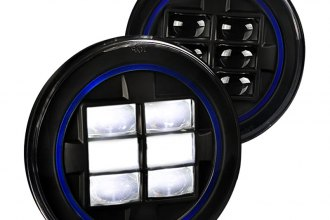 "Spec-D® - 7"" Round Black Projector LED Headlight with Blue Rim Strip"