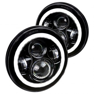 "Spec-D® - 7"" Round Black Projector Halo Full LED Headlights"
