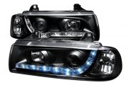 SPEC-D� - Black Projector Headlights with LEDs - E36