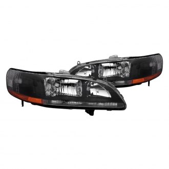 Spec-D® - Black Euro Headlights with Chrome Corner Lights