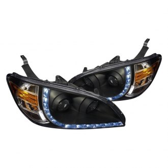 Spec-D® - R8 Style Black Projector Headlights with LED DRL