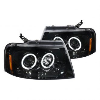 Spec-D® - Glossy Black Dual Halo Projector Headlights with Parking LEDs
