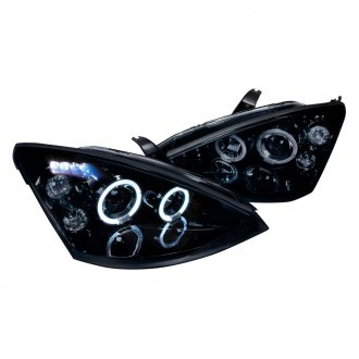 Spec D Black Smoke Dual Halo Projector Headlights With Parking Leds
