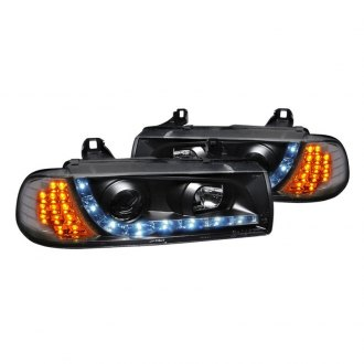 Spec-D® - R8 Style Black Projector Headlights with LED Turn Signal and DRL