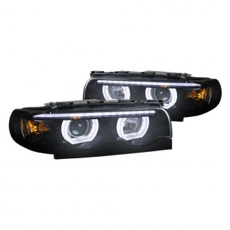 Spec-D® - Chrome/Smoke LED DRL Bar Dual Halo Projector Headlights