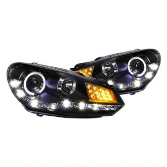 Spec-D® - R8 Style Black Halo Projector Headlights with LED Turn Signal and DRL