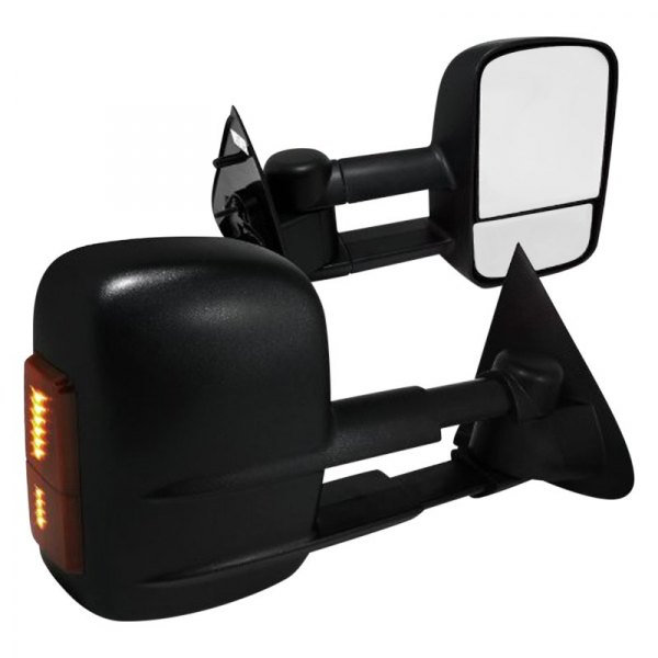 Spec-D® - Black Towing Mirrors with LED Turn Signal Lights with Manual Operation