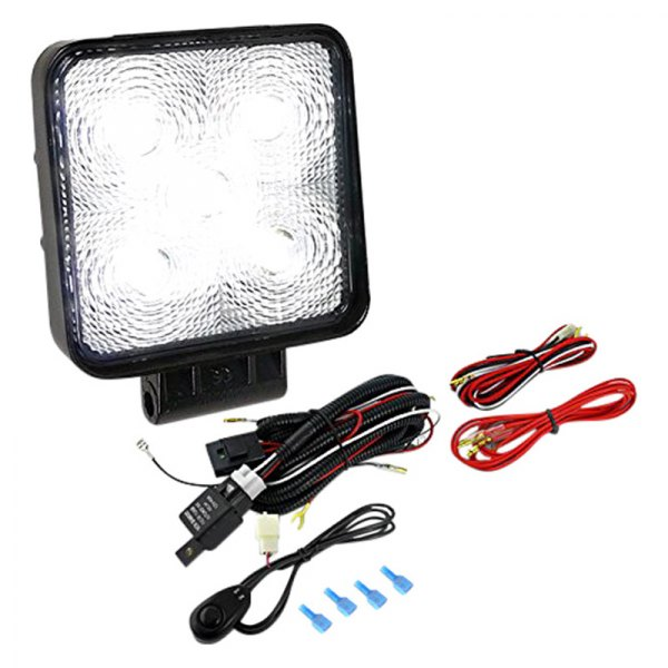 "Spec-D® - 4.5"" Black Square 5 LED Work Light with Wiring Kit"