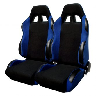 Spec-D® - Black with Blue Trim Bride Style Racing Seats
