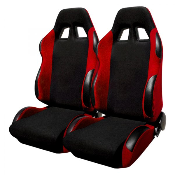 Spec-D® - Black with Red Trim Bride Style Racing Seats
