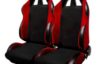 Spec-D® RS-505-2 - Black with Red Trim Bride Style Racing Seats