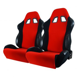 Spec-D® - Black with Red Insert Bride Style Racing Seats