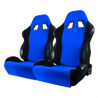 Spec-D® - Black with Blue Insert Bride Style Racing Seats