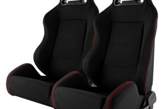 Spec-D® - Recaro Style Black PVC with Red Stitches Racing Seats