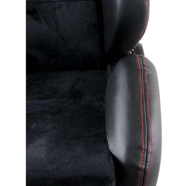 Spec-D® - Recaro Style Black PVC with Suede and Red Stitches Racing Seats