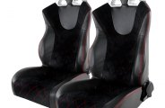 Spec-D® - Recaro Style Black PVC with Blue Suede Racing Seats