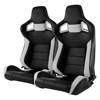 Spec-D® - Recaro Style Black and White PVC Racing Seats