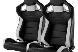 Spec-D® RS-C500RS-2 - Recaro Style Black and White PVC Racing Seats