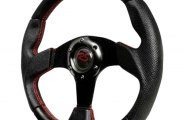 Spec-D® - Black with Red Stitch MOMO Net Style Steering Wheel
