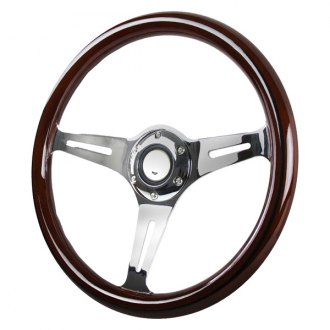 Spec-D® - Classic Style 3 Spokes Wood Steering Wheel with Brown Grip