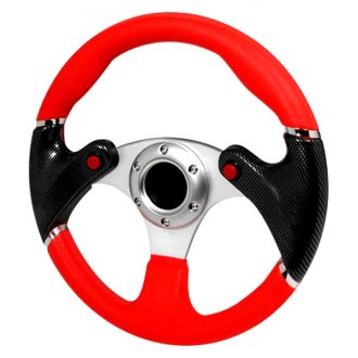 Spec-D® - F16 Series 3 Spokes Racing Steering Wheel with Black/Red Grip