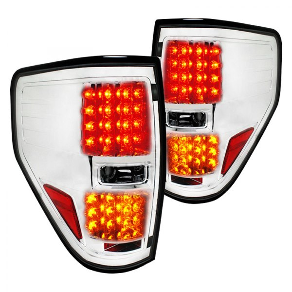spec d lt f15009cled tm ford f 150 2013 chrome led tail lights. Black Bedroom Furniture Sets. Home Design Ideas