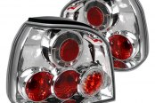 Spec-D® - Chrome/Red Euro Tail Lights with LEDs