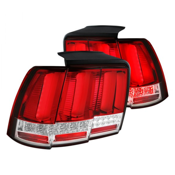 sq tm ford mustang 2000 chrome red led sequential tail lights. Black Bedroom Furniture Sets. Home Design Ideas