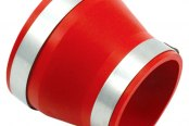 "Spectre Performance® - 4""- 3.5"" Air Intake Reducer Coupler with 2 Clamps - Red PVC"