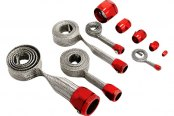 Spectre Performance® - Magnabraid Stainless Sleeving Kit with Red Magna-Clamps