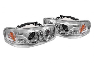 Spyder® 444-CDE00-HL-C - Chrome Halo Projector Headlights with LEDs