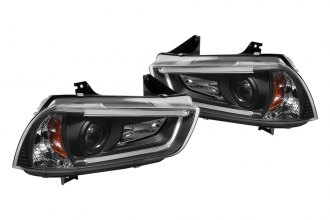 Spyder® 444-DCH11-LTDRL-BK - Black Projector Headlights with Light Tube DRL