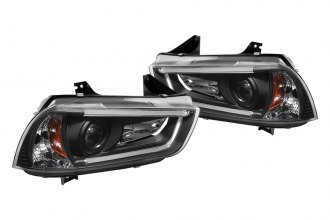 Spyder® 444-DCH11-LTDRL-HID-BK - Black Projector Headlights with Light Tube DRL