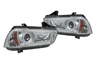 Spyder® 444-DCH11-LTDRL-HID-C - Chrome Projector Headlights with Light Tube DRL