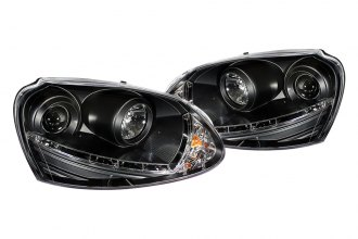 Spyder® 444-VG06-HID-DRL-BK - Black Projector Headlights with LEDs