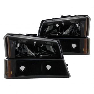 Spyder® - Black Smoke Euro Headlights with Bumper Lights