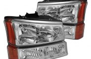 Spyder® - Chrome Euro Headlights with Bumper Lights and Amber Reflectors