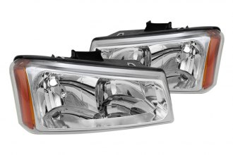 Spyder® - Driver and Passenger Side Chrome Euro Headlights with Amber Reflectors