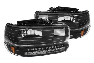 Spyder® - Black Euro Headlights with LED Amber Bumper Lights