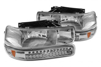 Spyder® - Chrome Euro Headlights with LED Amber Bumper Lights